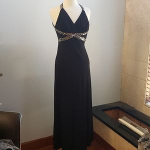 Black long dress open back with rhinestones